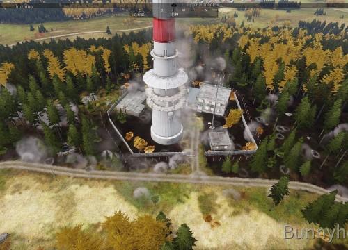 Cluster-Bomben auf den Radio-Tower